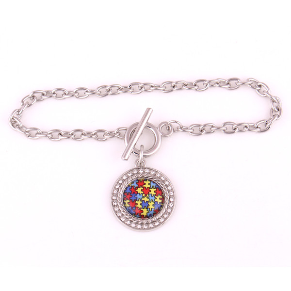 Jigsaw Puzzle Pattern Round Charm With Sparkling Crystals Wheat Link Chain Classic Depression Style Provide Dropshipping