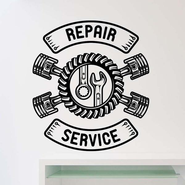 Car Workshop Logo Auto Service Wall Stickers for Repair Service Art Decor Vinyl Decals Home Interior Decoration K536