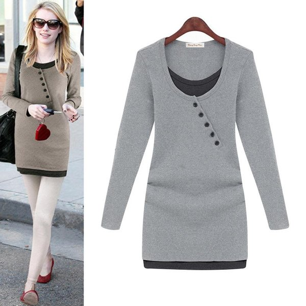 Winter Dresses For Womens 2017 Long Sleeve Dress Solid Black Gray Slim Ladies O-Neck Fashion Pretty Women False Two Pieces Clothes