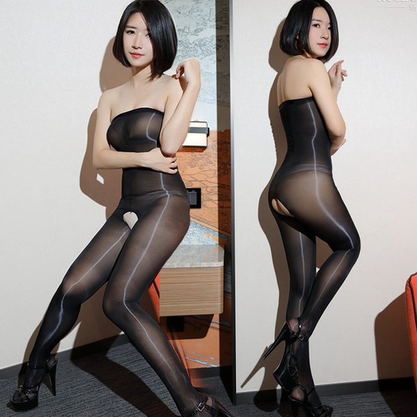 Erotic Siamese tight-fitting stockings tempting flashy oily legs aexy 8D tube top shiny flash costume role playing wear QN40A10244L