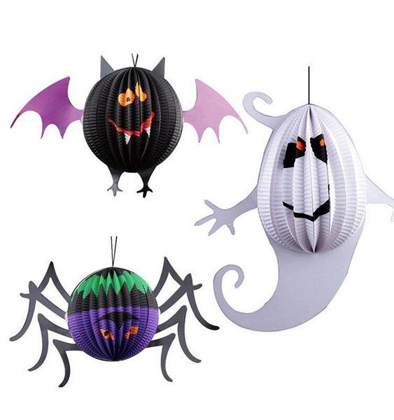 뜨거운 할로윈 3D 박쥐 거미 유령 펜던트 소품 어린이 파티 코스프레 종이 랜턴 장식 도구 축제 용품