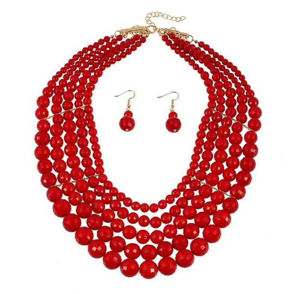Bulk Lots African Jewelry Set Statement Necklaces & Stud Earrings Set Chandelier Women Dangle Choker Wedding Jewelry Sets Wedding Decoration