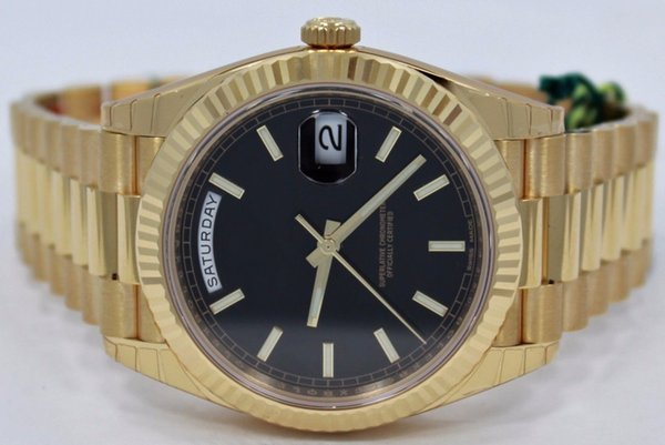 Free shipping Luxury President Day-Date 228238 18K Yellow Gold Black Diagonal Motif Dial 41mm Automatic Mechanical Movement Mens Watch