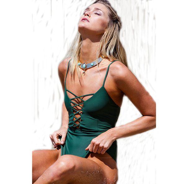 2018 new girls/women swimwear pinup solid deep v string swimsuits one piece badpakken vrouwen traje de bano mujer 3 colors may
