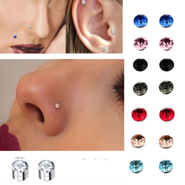top popular 5mm crystal Magnetic stud earring Fake magnet Nose Ear Lip Stud non piercing tragus nose stud 8 pairs  pack L18101106 2019
