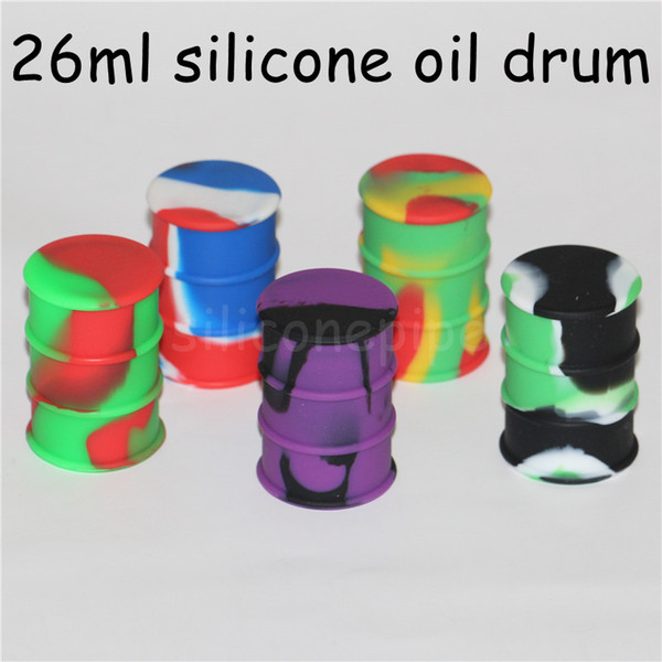 Silicone Wax Concentrate Containers 26 Ml Oil Drum Barrel Container Nonstick Jars 20 Pcs Lot silicone water pipe dab rigs