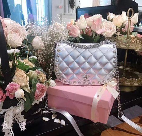 Big Handbag Female Spring Type Ladies Genuine Leather Beads Decoration Shoulder Bag