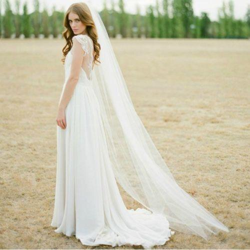 In Stock Bridal Veils Chapel Length Wedding Accessories Evening Party Long Veil Bride Veil 2m One Layer Cheap Simple Long Tulle Wedding Veil