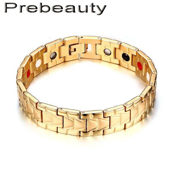 New Healing Magnetic Bracelet Men/Woman 316L Stainless Steel 3 Health Care Elements(Magnetic,FIR,Germanium) Healthy Bracelet Hand Chain