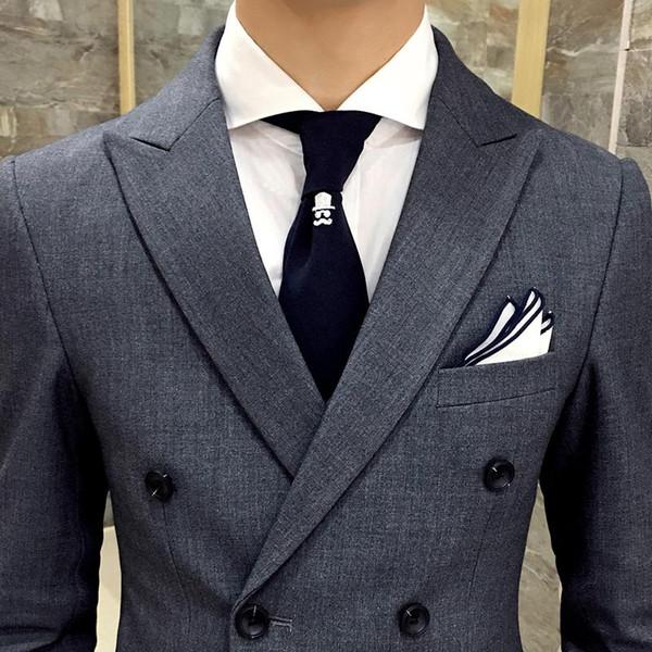 2018 ultimi pantaloni cappotto disegni abiti da uomo grigi con risvolto a doppio petto smoking da uomo d'affari costume slim fit 2 pezzi