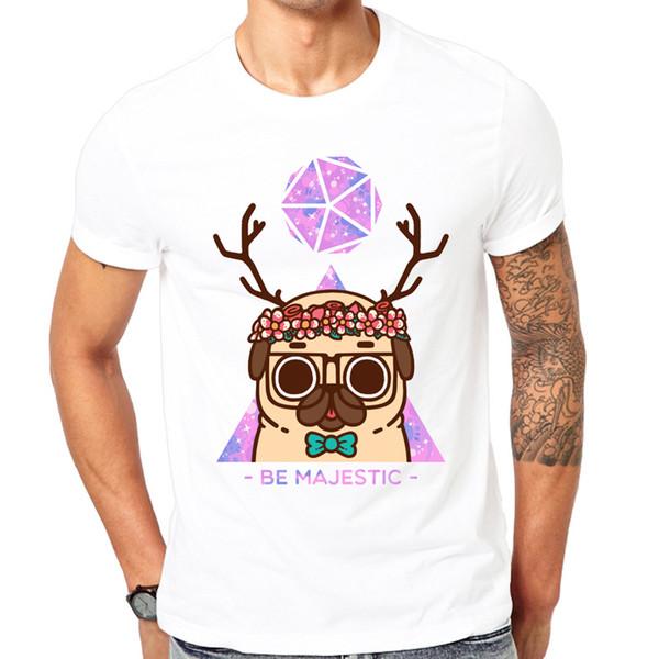 2018 New Fashion Gorgeous Pug Print T Shirt Men Comfortable White T-shirt Men's Short Sleeve Tshirt Top Quality Funny Dog Design