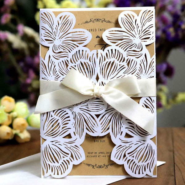White Laser Cut Wedding Invitations Blank Flower Hollow Engagement For Party Invitation Cards With Ribbon Free Envelope Seals Vietnamese Wedding
