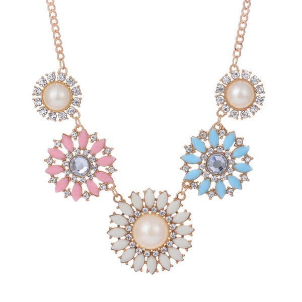HERMOSO PLAN Vintage Flower Statement Chunky Party Chain Jewelry Pearl collares collares Pequeña Daisy para mujeres clavícula