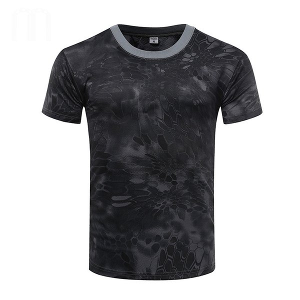Summer  Camouflage T Shirt Men Tactical Army Combat Quick Dry Short Sleeve Camo Sport Clothing O Neck Running T-shirt