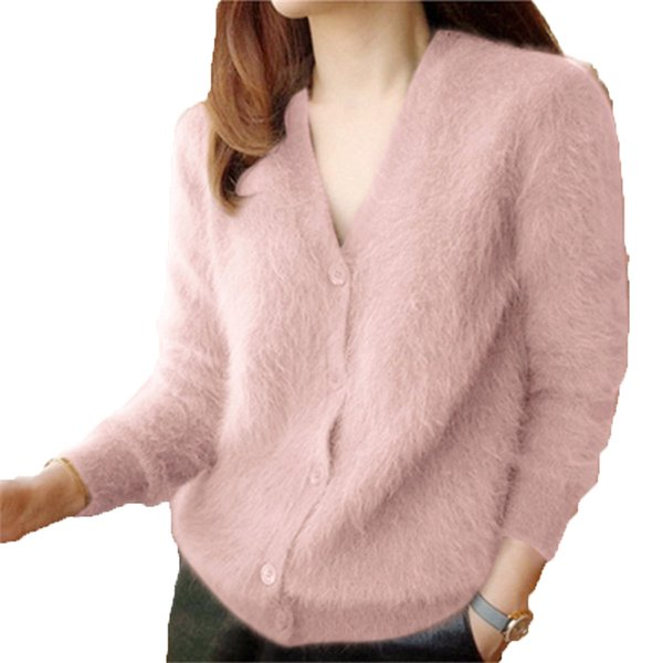 KULAZOPPER Spring Autumn Women Single Button Knitted Cardigan Lady Long Sleeve V-Neck Sweater Female Cardigan With Buttons KW066