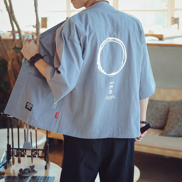 Chaqueta de estilo chino de los hombres de la sección delgada Tang traje de rebecas de estilo japonés rebecas kimono lino ropa de protección solar de verano
