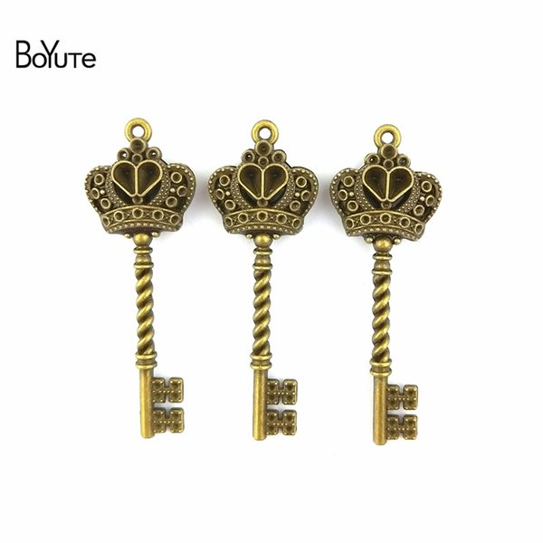 BoYuTe (30 Pieces/Lot) 20*61MM Zinc Alloy Antique Bronze Silver Plated Vintage Crown Key Pendant Charms for Jewelry Making Diy Handmade
