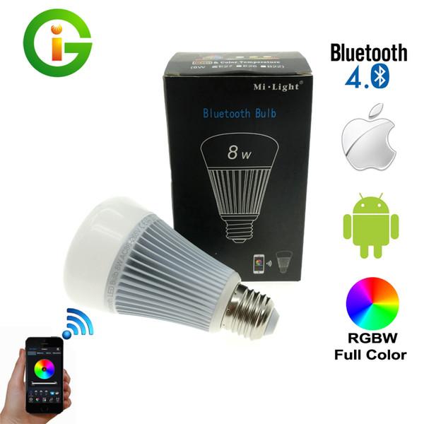 Mi-luz bluetooth 4.0 lâmpada 8w e27 ac85-265v cor cheia inteligente LED luz com ios android app controle.
