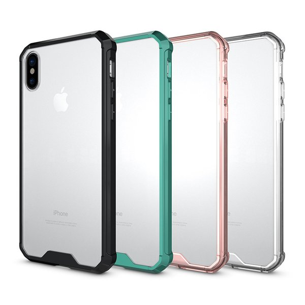 Acrylic Case For Iphone XS MAX 8 7 Plus Samsung S9 Plus Note 8 S8 Clear Hybrid Soft TPU Bumper Back Cover Cases