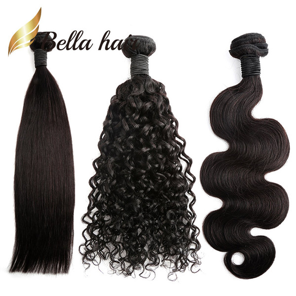 Paquetes de cabello brasileño Color natural Onda recta del cuerpo Extensiones de cabello humano rizado profundo 100 Julienchina Trenza-Donante Bella cabello 1/2/3 / 4pcs