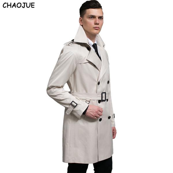 CHAOJUE Mens médio longo preto trench coat 2018 moda primavera de grandes dimensões 6XL funky vestido casaco de luxo trench coats para homens