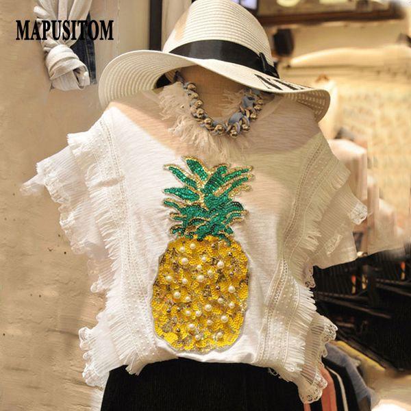 MAPUSITOM New T Shirt Women Short Sleeve T-shirt Bead Sequin Pineapple Tee Shirt Femme Casual Summer Tshirt for Women Tops 2017