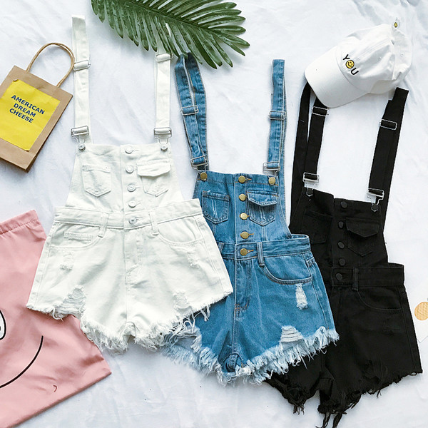 Summer Japanese Women Denim Straps Shorts Cut Out Fashion Overalls Harajuku Jean Rompers For Female Girls Loose Tassel Jumpsuits