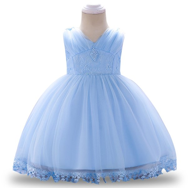 New baby girl dress tulle petals girl baptism dress 1 year birthday gift beaded wedding party costume baby children clothing