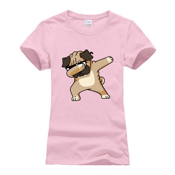Women's Tee O - Neck Cotton T Shirts Harajuku Tops Tee Shirt Femme Cute Dabbing Pug T Shirt Women Short Sleeve 2018 Summer Hip Hop Camisetas