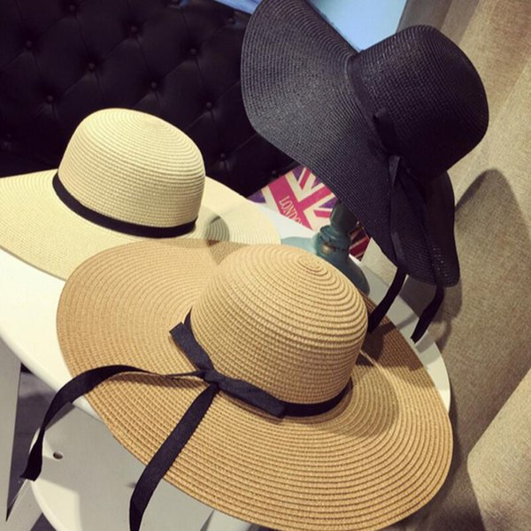 Large Floppy Hats Foldable Straw Hat Boho Wide Brim Hats Summer Beach Hat For Lady Outdoor Sunscreen Caps