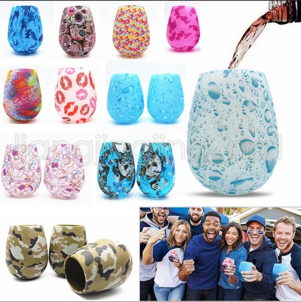 best selling Silicone Wine Glasses Outdoor Cup 12 Styles Camo Lip Bohemia National Skull Bubble Water Bottle Beer Whiskey Glass Drinkware 200pcs AAA612