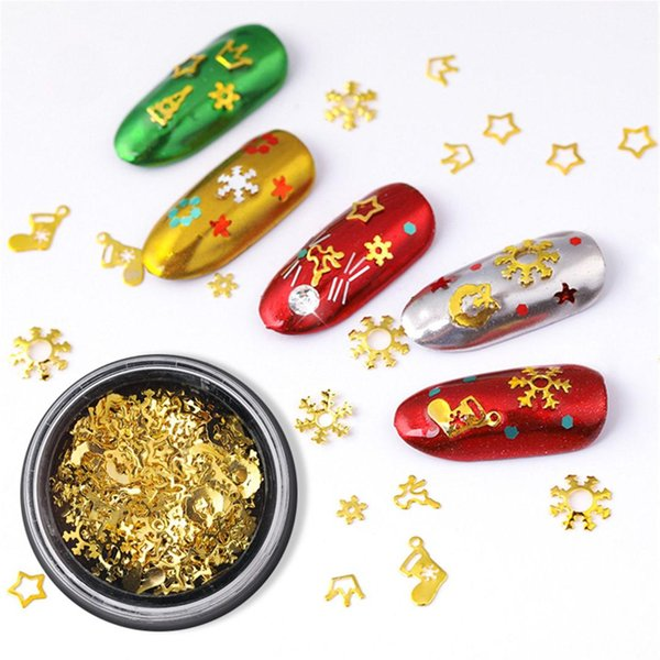 1 Bottle Gold Metal 3D Hollow Nail Frame Nail Art Decoration Christmas Snowflake Star Mixed Design Accessories Tiny Slice