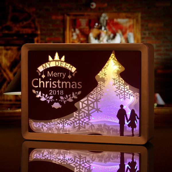 Papel de sombra de natal luz esculpida candeeiros de mesa DIY presente de aniversário criativo pequeno candeeiro de mesa luz