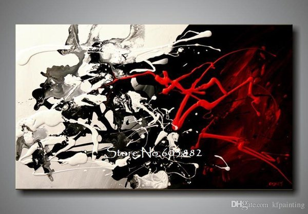100% hand painted discount large black white and red abstract art wall art canvas high quality decor