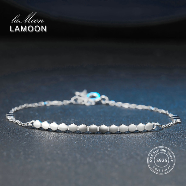 LAMOON 2017 New 3*40mm Honeycomb 100% Real 925 Sterling Sliver Fine Jewelry Chain Charm Bracelet for Women Girl Gift LMHY016