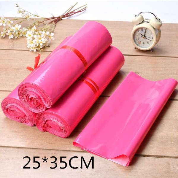 25*35cm (20*30+5cm) Hot pink Courier Bag Multi-function Packaging material Shipping Bags Self-seal Mailbag Plastic Poly Mailing Envelope Bag