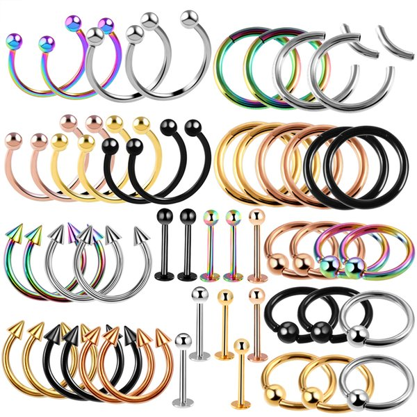 100pcs/lot Steel Segment Nose Ring Lip Eyebrow Tongue Rings Industrial Barbell Ear Cartilage Tragus CBR Piercing Fashion Jewelry