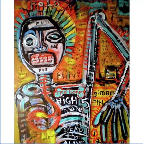 "Jean-Michel Basquiat "" The culture trip "" High Quality Handpainted & HD Printed Wall Art Oil Painting On Canvas Home Decor Multi Size g106"