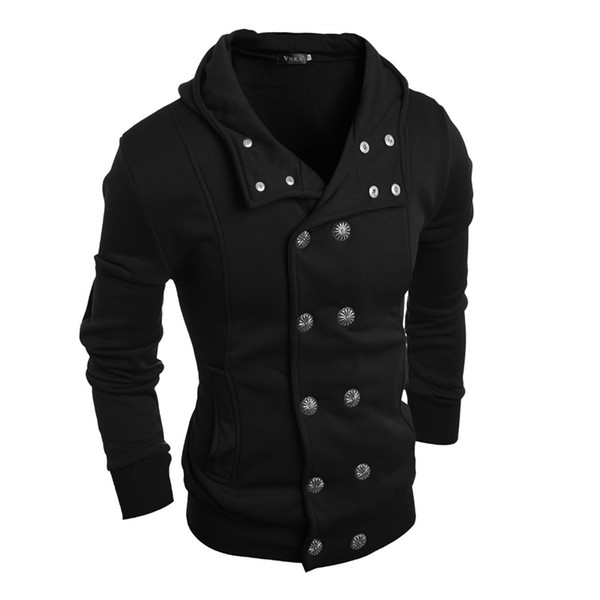 Fashion Men Short Trench Coat Men Good Quality Double Breasted Slim Fit Hooded Sweatshirt Cardigan Jacket Mens Overcoats