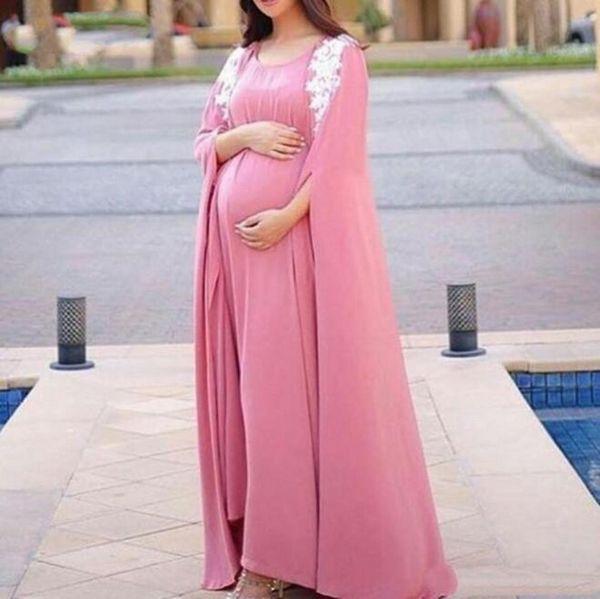 Vestidos de noche del estilo del cabo de la mujer embarazada Vestidos de fiesta largos del baile de fin de curso de la gasa del rosa y de la gasa de la maternidad de las mujeres del tamaño extra grande