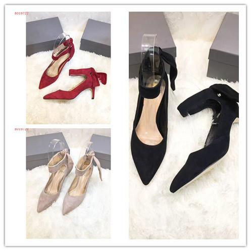 Women high heel wedding dress shoes famous brand sexy ladys pumps Genuine Leather fashion Slip-On girl's party dance single shoes new style