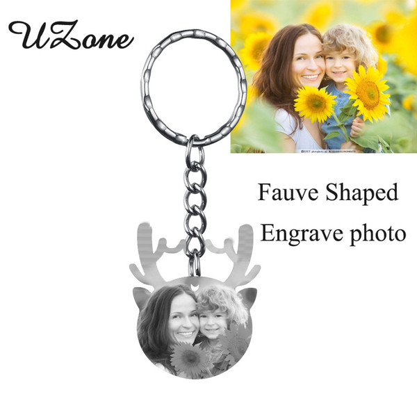 UZone Stainless Steel Animal Antlers Custom Keychain Personalized Blank Engrave Name Keychain For Best friend Gift