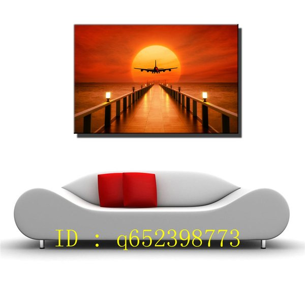 Airplane Sunset Horizon HD Canvas Printing New Home Decoration Art Painting/ Unframed / Framed