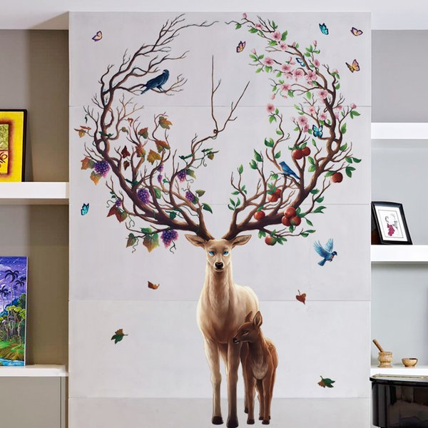For Kids Room Bedroom Decor Wall Art Decoration Cartoon Animals Elk Wall  Stickers Removable Wallpaper Children Wall Stickers Childrens Bedroom Wall  ...