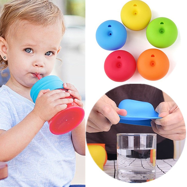 top popular New Silicone Sippy Cup Lids Straw Spill-Proof Cup Cover for Water Bottle Mason Jar Baby Toddler 2019