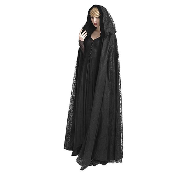 Steampunk Womens Witch Cape Black Hooded Lace Long Coat Priestess Halloween Costume Maix Cloak Cape