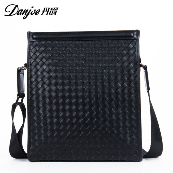 DANJUE 2018 Genuine Leather Messenger Bag Male Vertical Black Business Crossbody Bag Classic Zipper Casual Shoulder Men