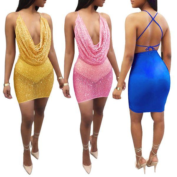 2019 Sexy Slim Fit Bodycon Dress Women Sleeveless Deep-V Halter Neck Sequin Dress Backless Metal Christmas Party Dresses Vestido