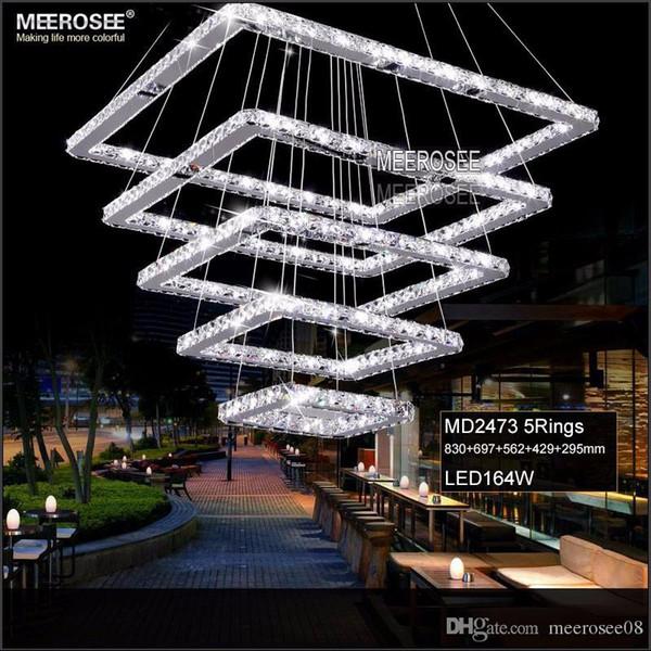 Quadratische Kristall LED Pendelleuchte Leuchte Rechteck Kristall Hängelampe Moderne Kristall Treppe Beleuchtung für Hotel Flur Villa
