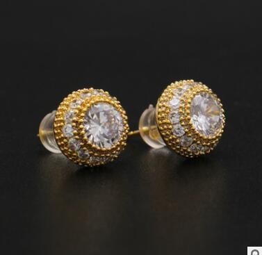 424554dc0 men women fashion ear jewelry micro pave cz gold filled screwback hip hop  bling round studs